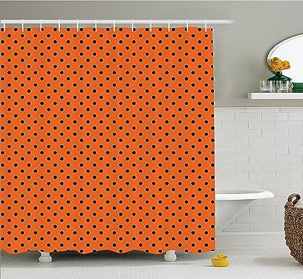 Ambesonne Orange Shower Curtain Vintage Retro Design Little Black Polka Dots With Backdrop Classical