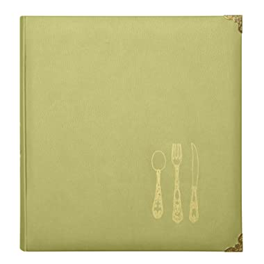 C.R. Gibson Chartreuse Green Faux Leather Recipe Book with Tabbed Dividers and Sheet Protectors, 11'' W x 11.88'' H