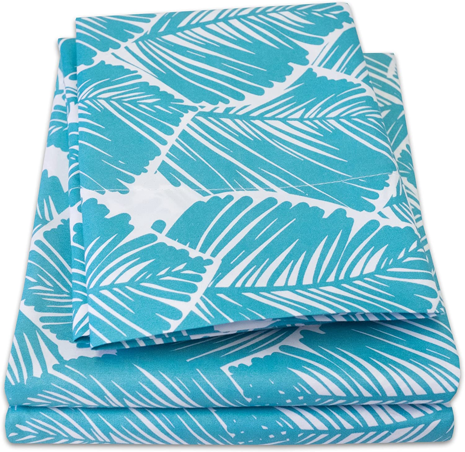 1500 Supreme Collection Extra Soft Tropical Leaf Teal Pattern Sheet Set, King - Luxury Bed Sheets Set with Deep Pocket Wrinkle Free Hypoallergenic Bedding, Trending Printed Pattern, King Size