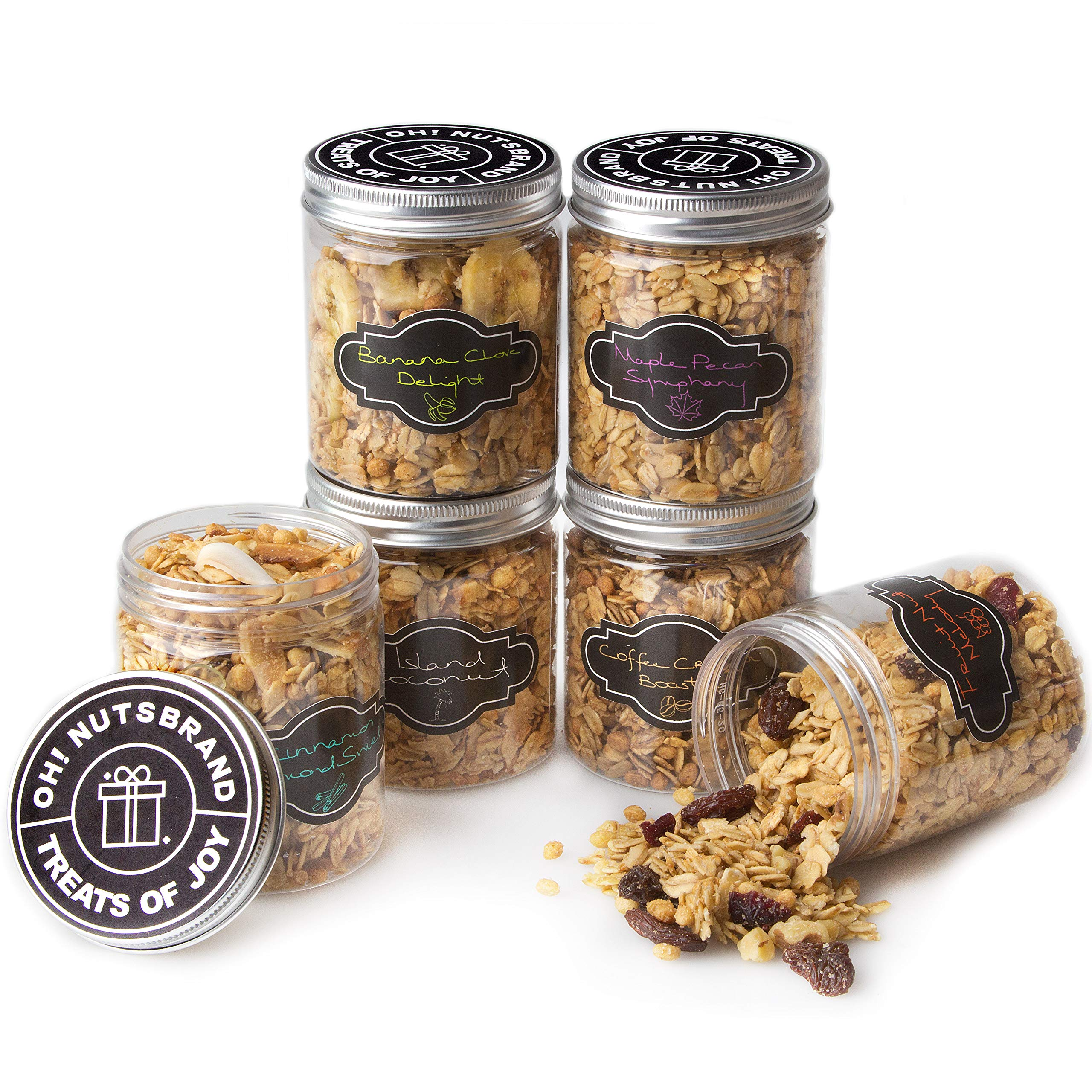 Oh! Nuts Gourmet Granola 6 Variety Gift Basket, Toasted Oats + Enhanced Protein Cereals, Christmas Breakfast Cereal Set, Holiday Valentines Day Energy Snack Gifts for Men & Women by oh! Nuts (Image #3)