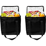 Earthwise Reusable Insulated Grocery Bags Heavy Duty Nylon Thermal Cooler Tote WATERPROOF In all Black w/ZIPPER Closure KEEPS FOOD HOT OR COLD (2 Pack)