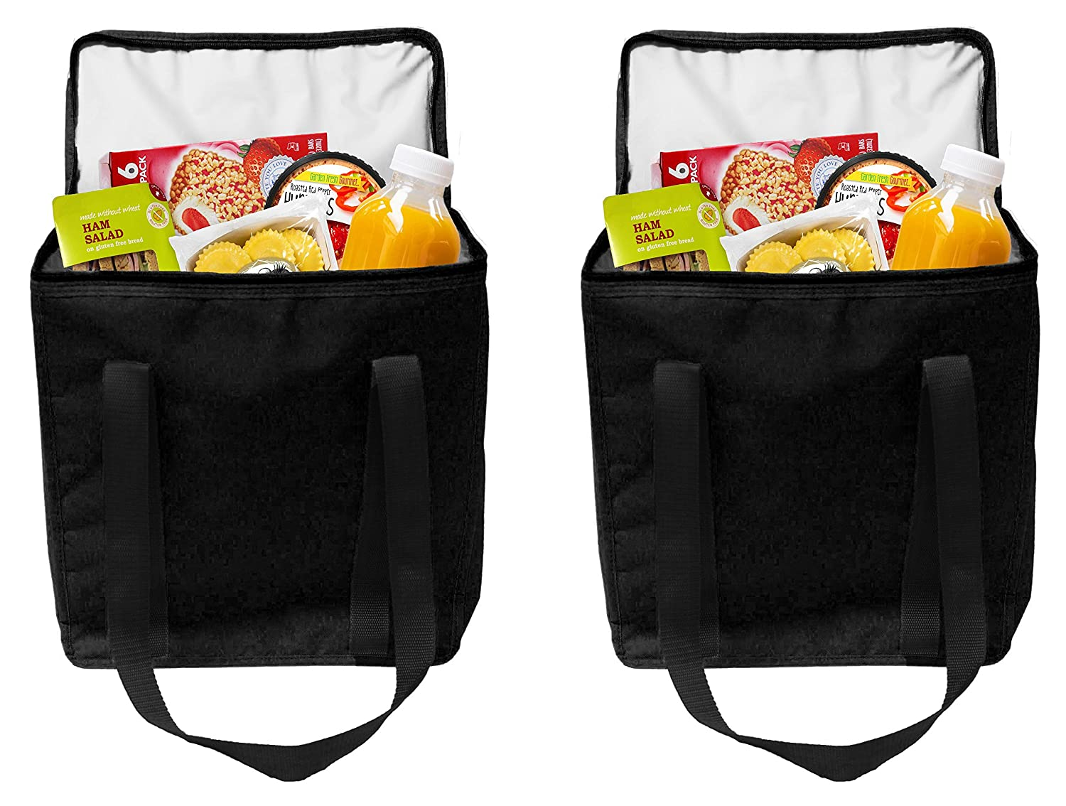 "Earthwise Reusable Insulated Grocery Bags Heavy Duty Nylon Thermal Cooler Tote WATERPROOF In all Black w/ZIPPER Closure KEEPS FOOD HOT OR COLD 12.75"" W x 14"" H x 7.75"" D (2 Pack) (Black)"