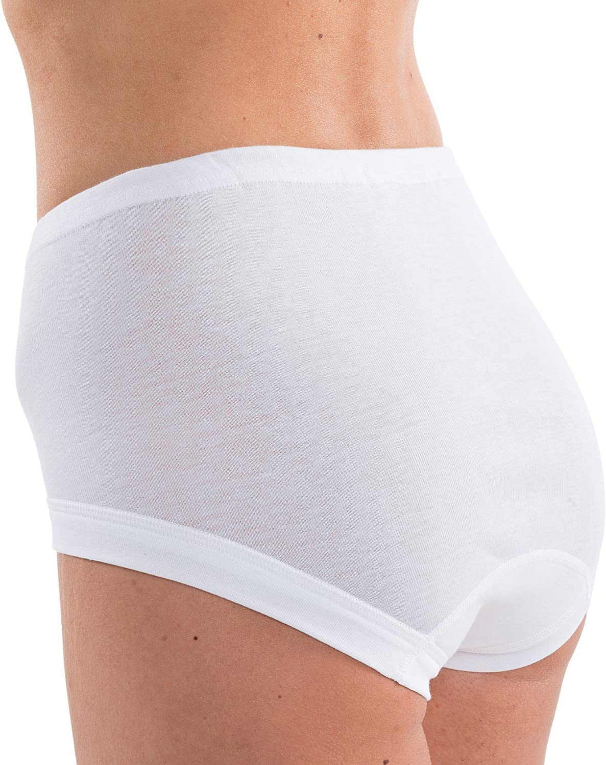 Mme Chainstore taille 14 taille haute short slips culottes slips coton//poly blanc