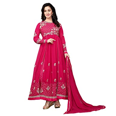 d1f35b1abff Image Unavailable. Image not available for. Colour  Aryan Fashion Women s  Semi-Stitched Georgette Anarkali Salwar Suit ...