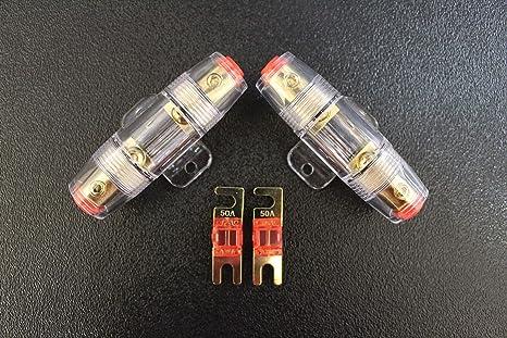 W 4 6 8 10 GAUGE MINI ANL FUSE HOLDERS 2 2 50 AMP FUSES AFC MIDI FUSES HIGH