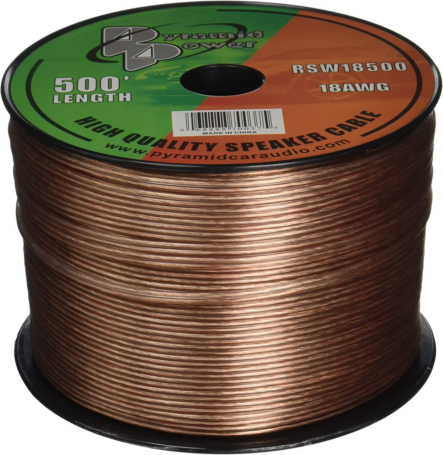 500ft 18 Gauge Speaker Wire - Copper Cable in Spool for Connecting Audio Stereo to Amplifier, Surround Sound System, TV Home Theater and Car Stereo - Pyramid RSW18500