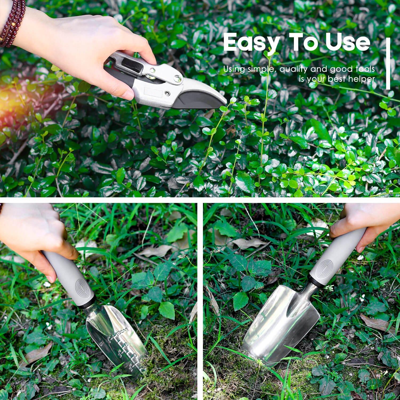 PEGZOS 10 Piece Garden Tools Set Gardening Tools with Garden Gloves, Gardener Apron and Garden Storage Tote, Gardening with Garden Trowel Pruners Clippers, Garden Hand Tools by PEGZOS (Image #9)
