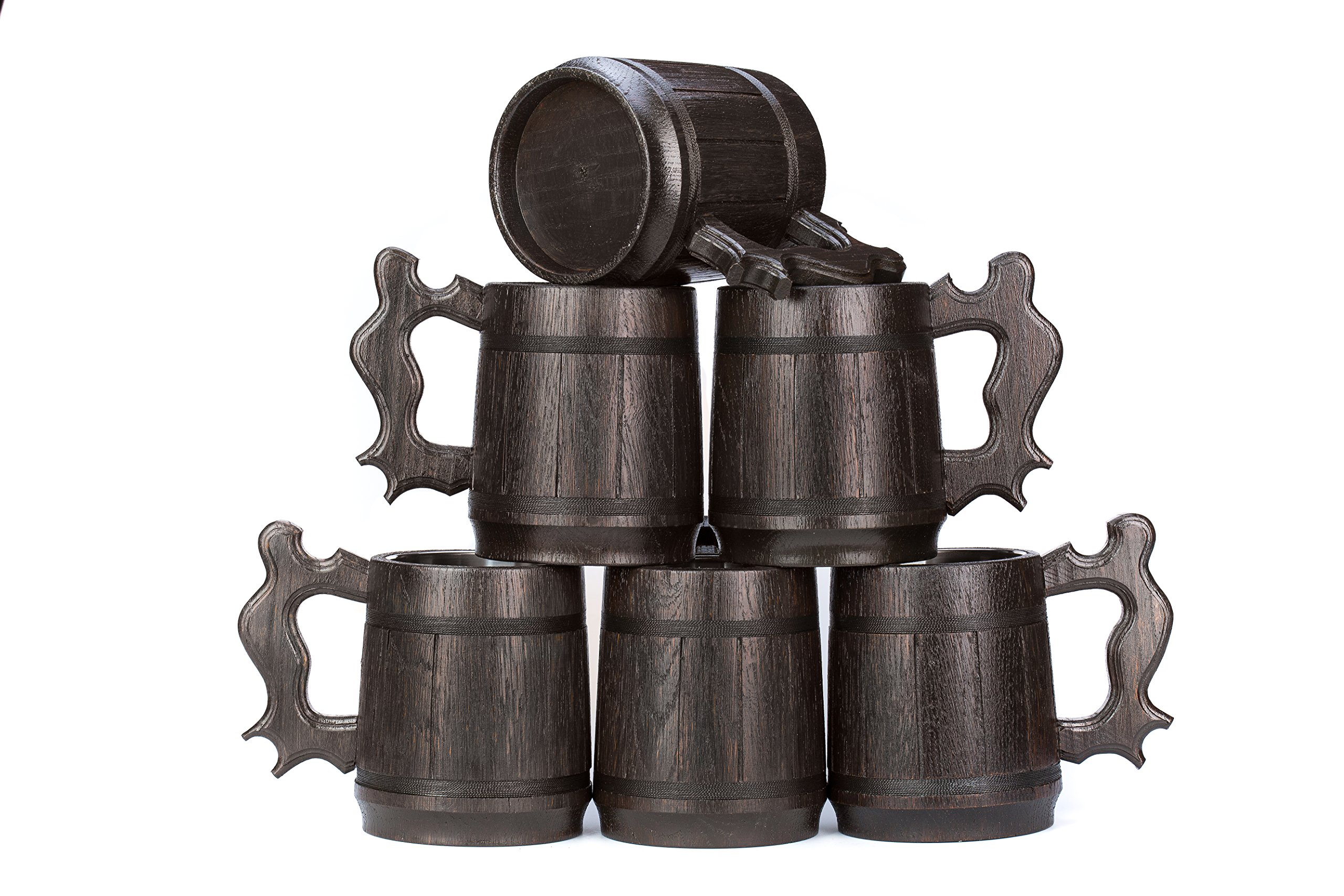 Set of 6 Beer Mugs / Gifts Set of 6 Wooden Beer Mugs / Set of 6 Mugs By WoodenGifts - 0.6 Litres Or 20oz Wooden Mugs - Set of 6 Coffee Mugs - Set of 6 Stainless Steel Cups (Set of 6 Mugs)