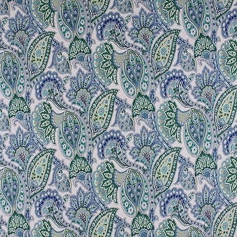 Amazon Com Pond Blue Blue Green Floral Paisley Linen Print