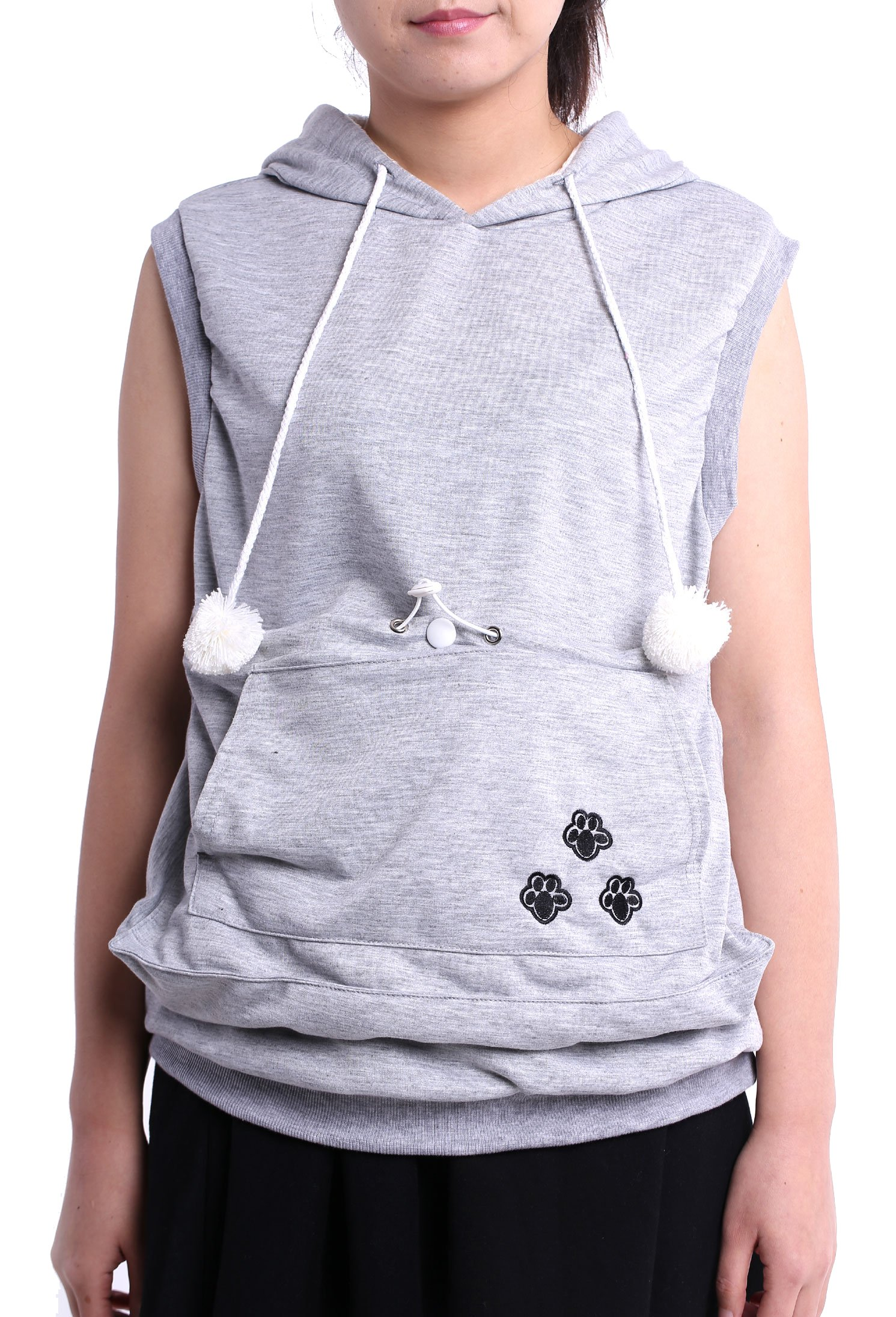 Sleeveless Hoodie Pet Holder Cat Dog Kangaroo Pouch Carriers Pullover Grey S