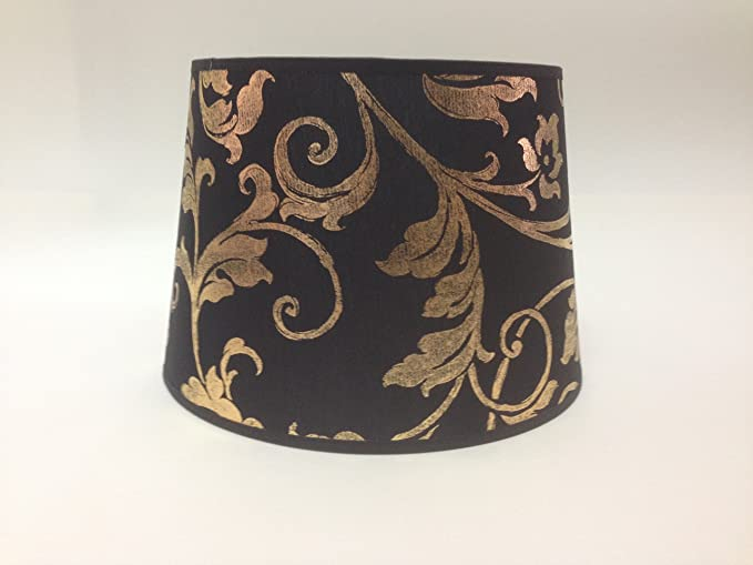10 Black Gold Empire Flowered Fabric Lampshade Table Light