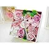 BIOフレグランスソープフラワー スイートボックス フタ付ボックス お祝い 記念日 お見舞い 母の日 ホワイトデー バレンタインデー (ピンク)