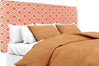 product image for MJL Furniture Designs Alice Padded Bedroom Headboard Contemporary Styled Bedroom Décor, Nicole Series Headboard, Tabby Orange Linen Finish, Full Sized, USA Made