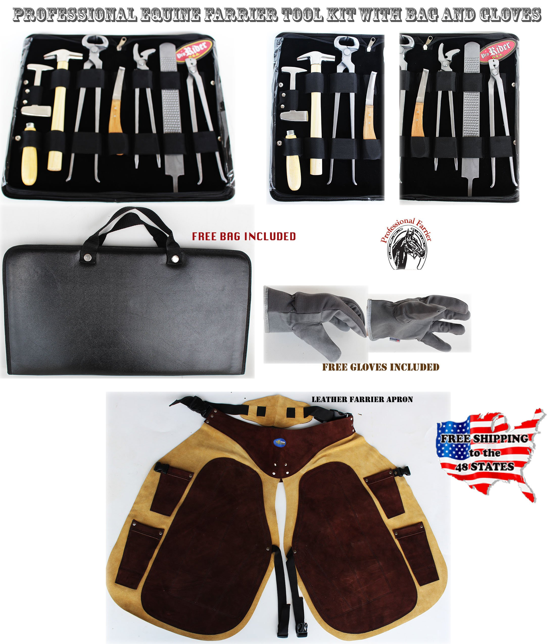 ProRider USA Horse Farrier Tool Equine Care Tool Kit Hoof Nipper Knife Gloves Apron 98498 by ProRider USA
