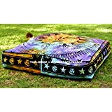"Sun & Moon Tie Dye Square Floor Pillow Large Ottoman Pouf Cover By ""Handicraftspalace"" , Hippie Indian Seating Daybed Throw Sofa Cushion Cover Outdoor Dog Bed 35"" X 35"""