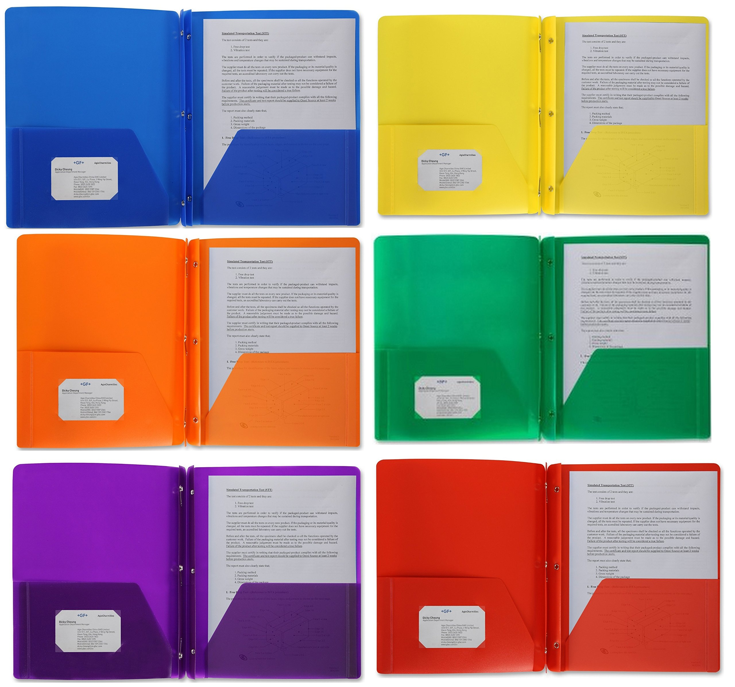 Poly Plastic Portfolio School Report Covers, 3 Hole Punched with Prongs, 8.5 x 11, Asst Colors Include Blue, Orange, Purple, Yellow, Green and Red are Durable, Spill Resistant / Water Resistant (24)