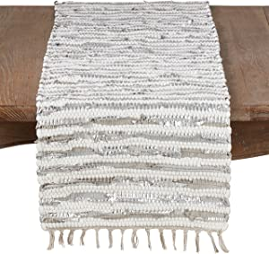 Silver Foil Strip Chindi Table Runner - 16