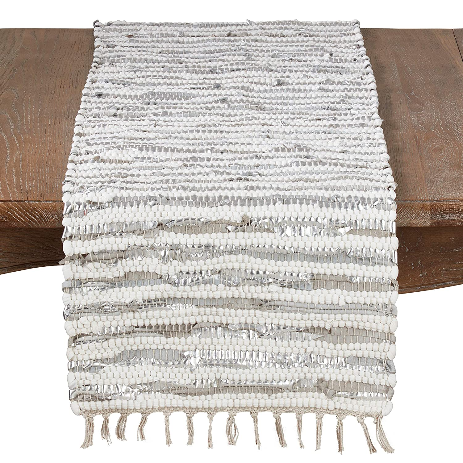 16 x 72 SARO LIFESTYLE 2129.S1672B Les F/êtes Collection Foil Strip Chindi Table Runner With Cotton And Leather Blend Silver