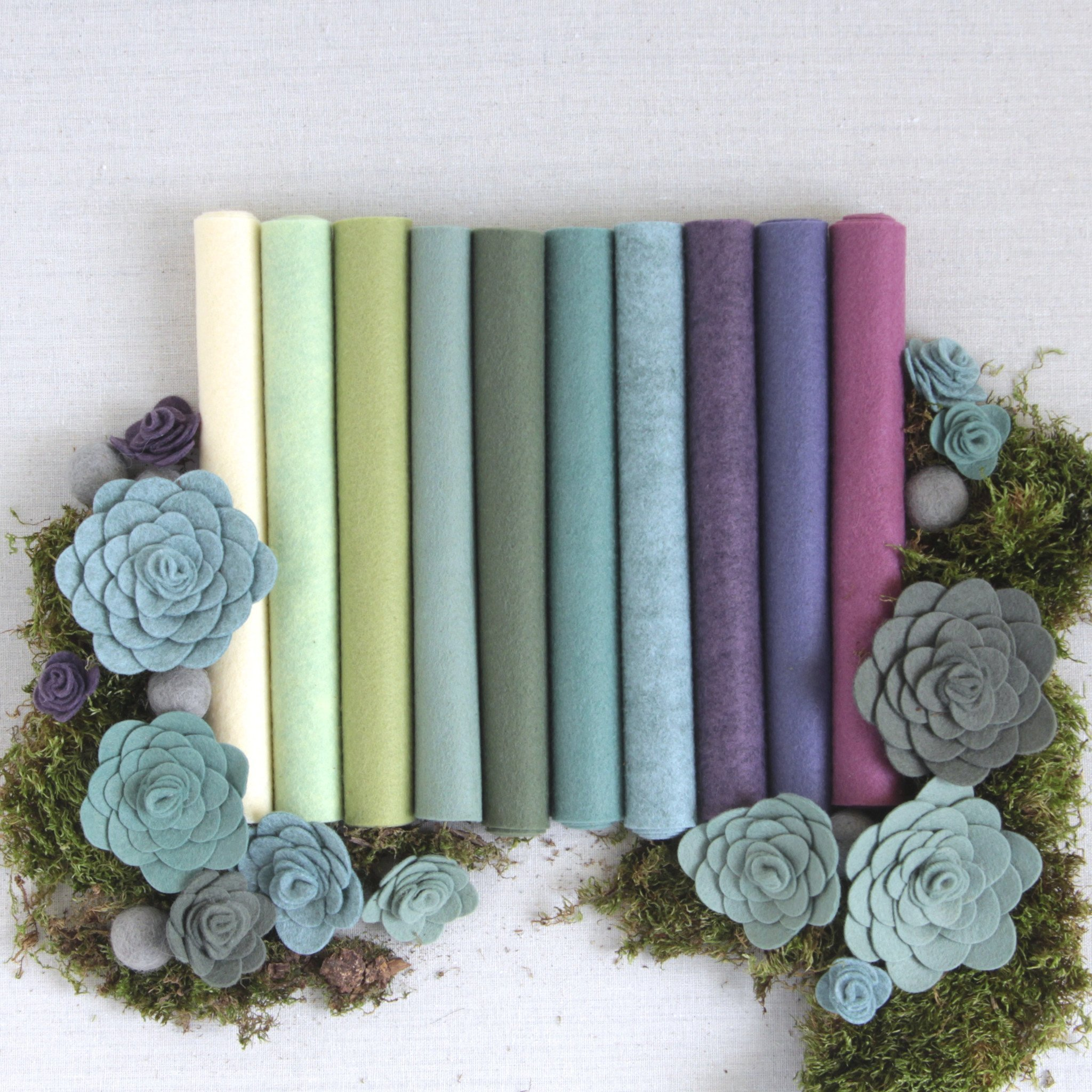 Wool Felt, Succulent Palette, 10 Sheets of Wool Blend Felt (10 12x18 inch Sheets) by Benzie Design (Image #1)