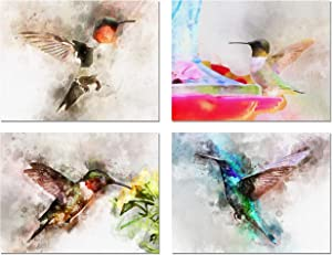 """Watercolor Hummingbird Greeting Cards - Summer Note Cards - Blank on the Inside - Includes 12 Cards and Envelopes - 4 Unique Designs - 5.5"""" x 4.25"""""""