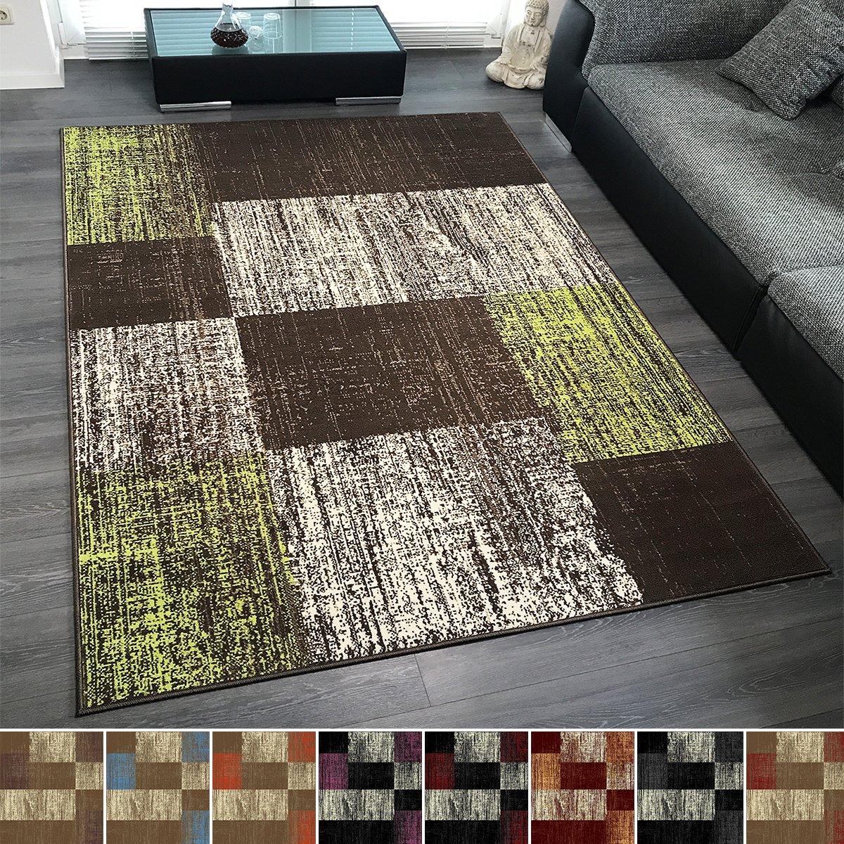 Design Velours Kurzflor Teppich 'Patch' Vintage Muster, Farbe Rot, Größe 200x290 cm