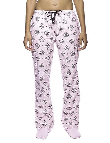 Noble Mount Pantalón Pijama de Franela para Mujer - Fleur Rosa/Negro - XS