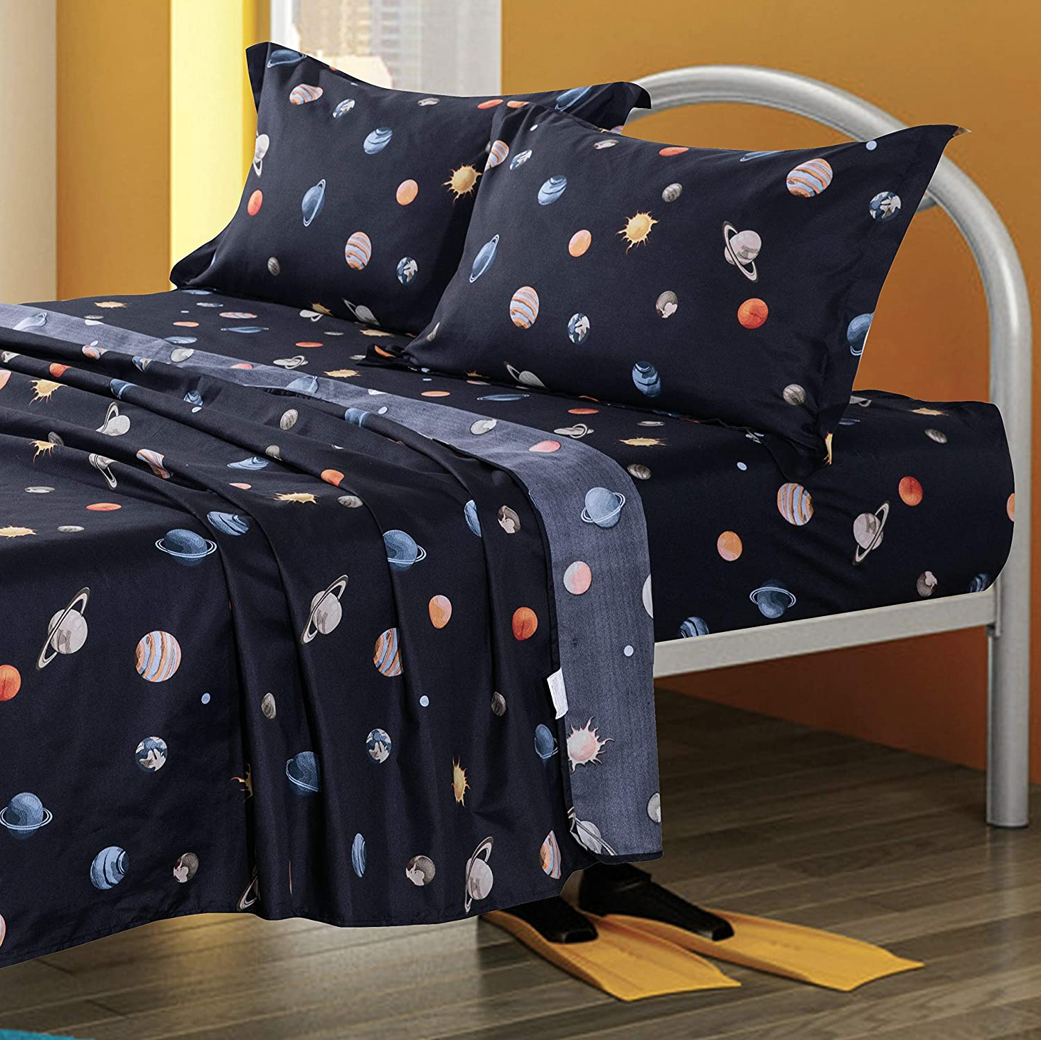 TOTORO Planet Star Design Sheets Set Twin Full Queen Size 4 Piece Fitted Sheet Flat Sheet 2 Pillowcases, Microfiber Sheets for Matresses, Navy Blue Color for Kids Boys (Planet Star, Navy Blue, Twin)