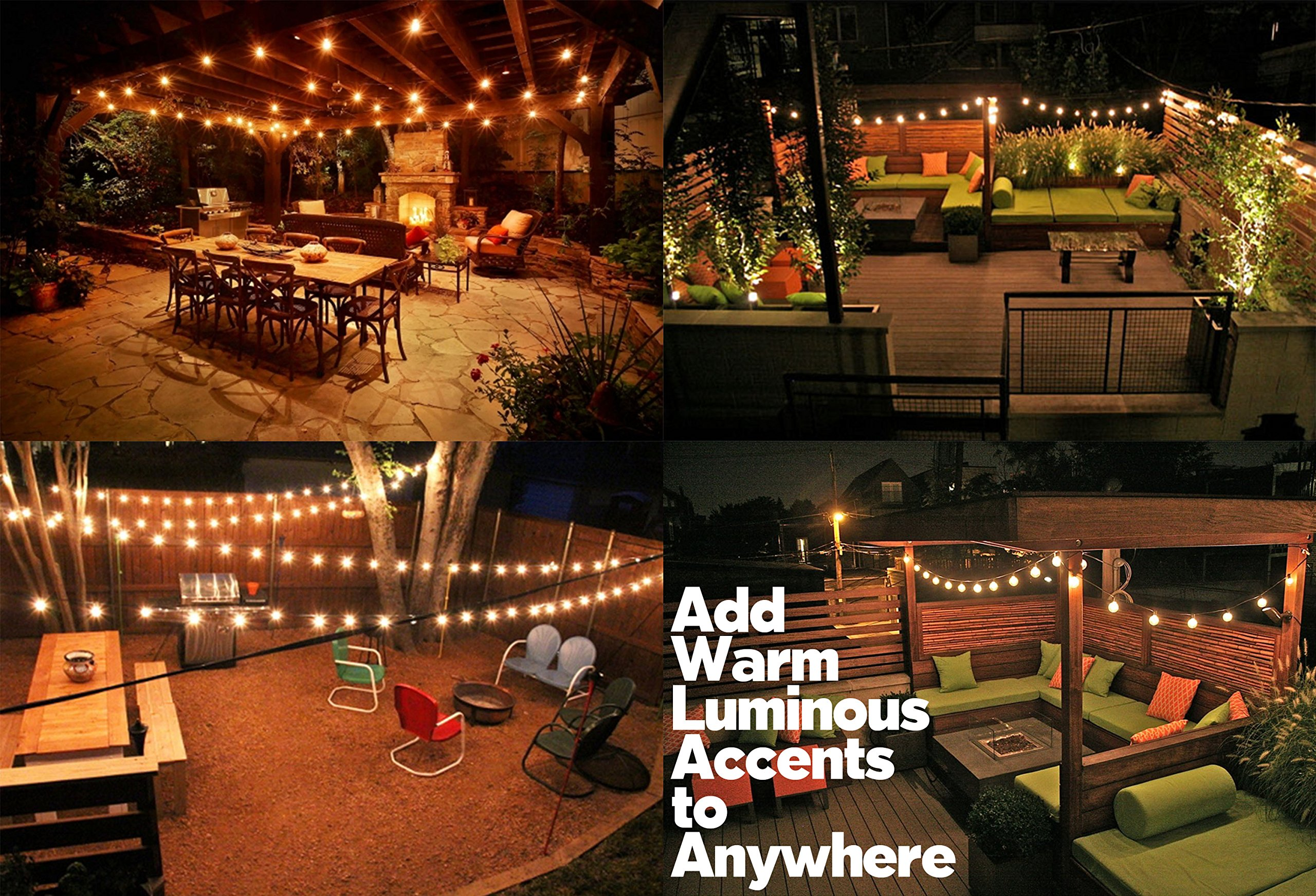 String Lights, Lampat 25Ft G40 Globe String Lights with Bulbs-UL Listd for Indoor/Outdoor Commercial Decor by LAMPAT (Image #5)