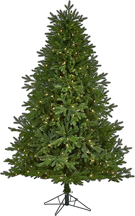 Amazon Com Nearly Natural 7ft Nova Scotia Fir Real Touch Artificial Christmas Tree With 400 Multifunction Warm White Led Lights With Instant Connect Technology And 973 Bendable Branches Green Home Kitchen