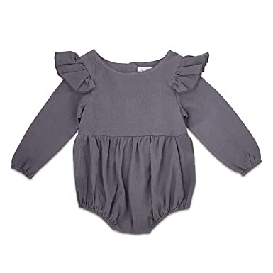 5db460256433 Amazon.com  Babe Basics Flutter Sleeve Fall Baby Romper
