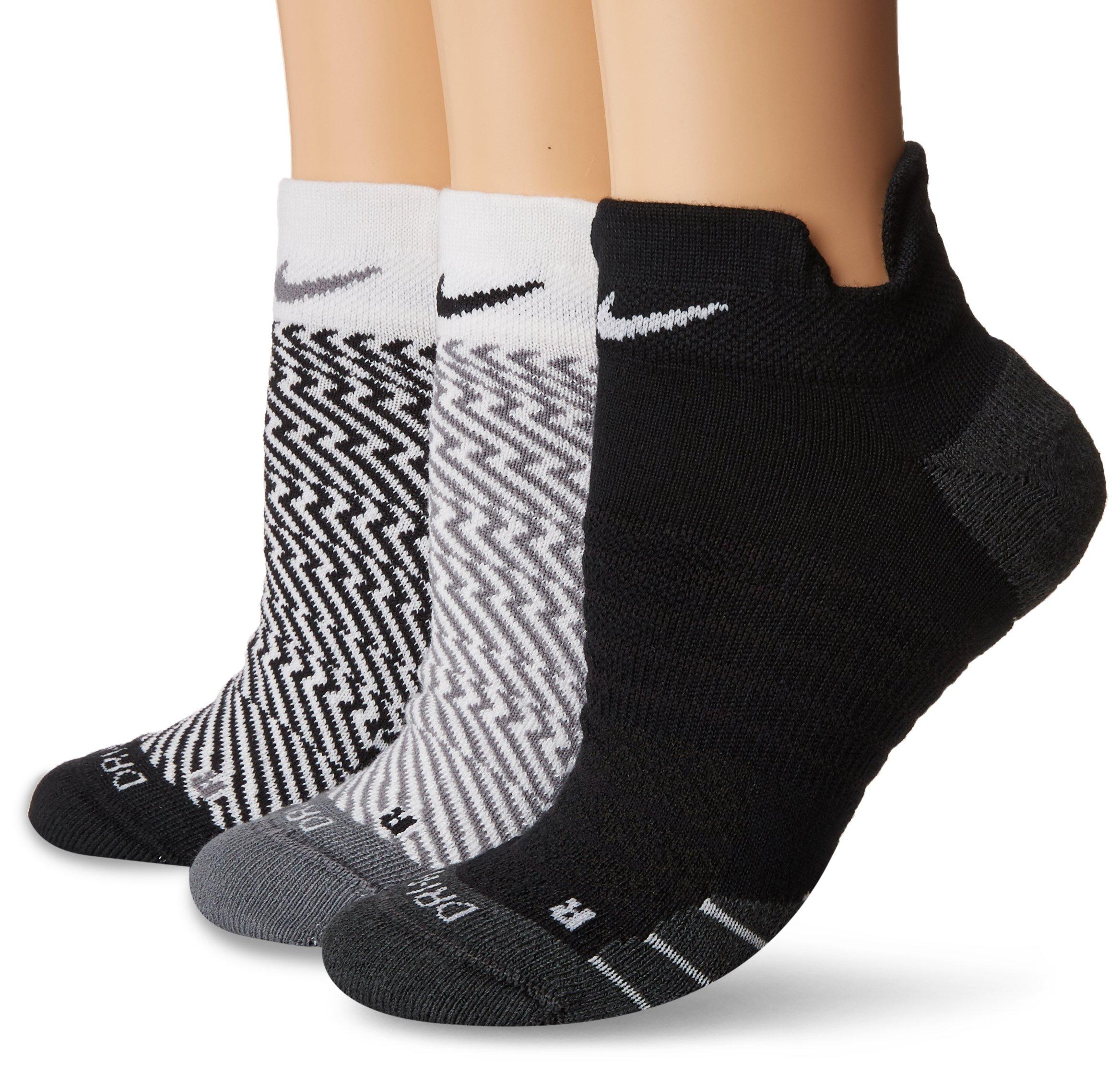 Nike Women`s Dry Cushion Graphic Low Training Socks (3 Pair) (Multicolor 2, MD (Women's Shoe 6-10))
