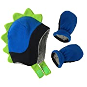 N'Ice Caps Little Boys and Baby Soft Sherpa Lined Fleece Dino Hat Mitten Set (6-18mos, Black/Royal/Neon Green Infant)