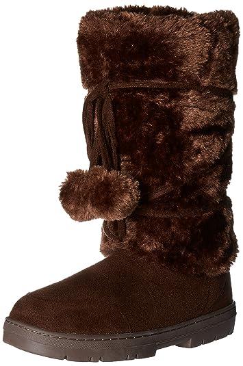 Amazon.com | Womens Pom Pom Fully Fur Lined Waterproof Winter Snow ...