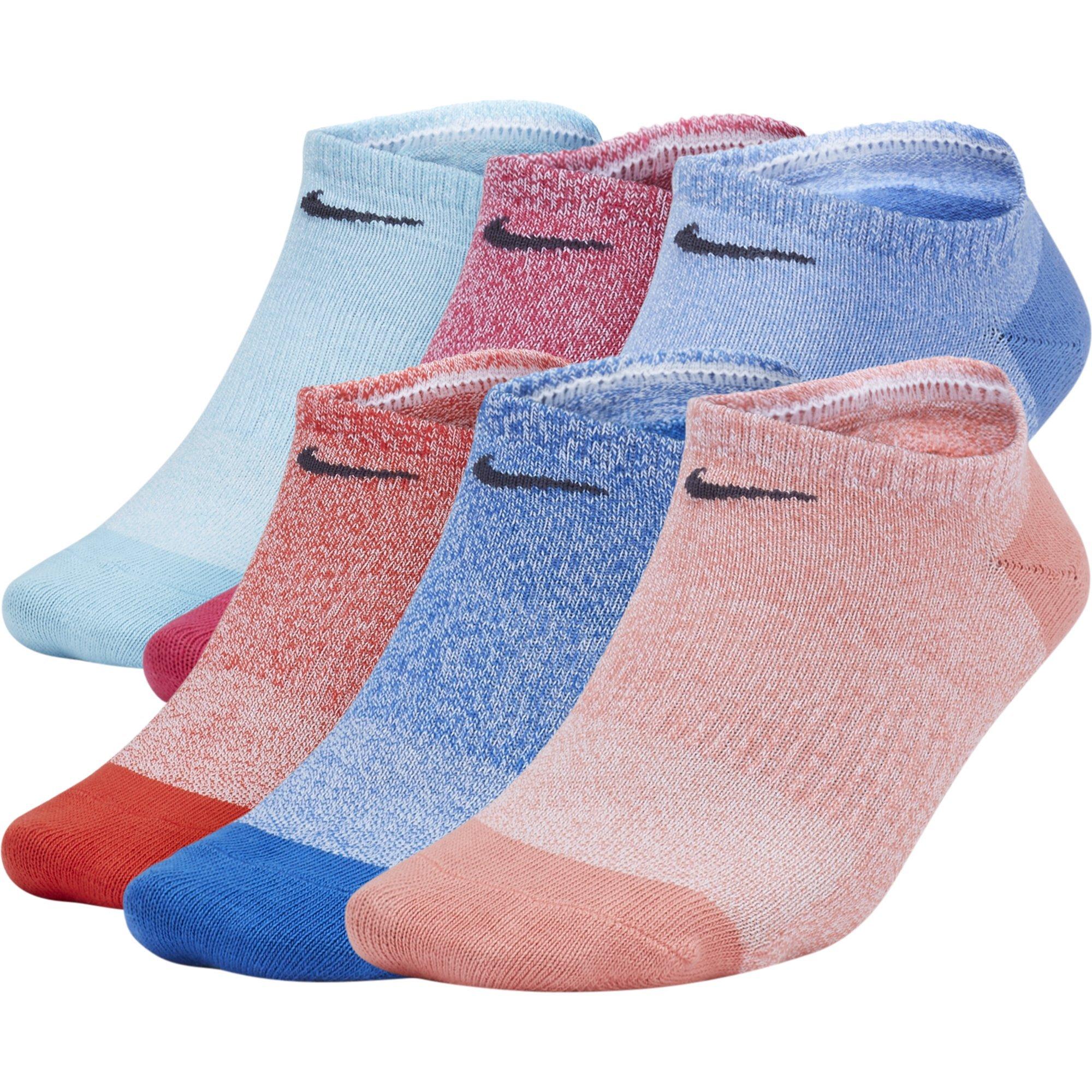 NIKE Women's Everyday Lightweight No-Show Socks (6 Pairs), Multi-Color (921), Medium