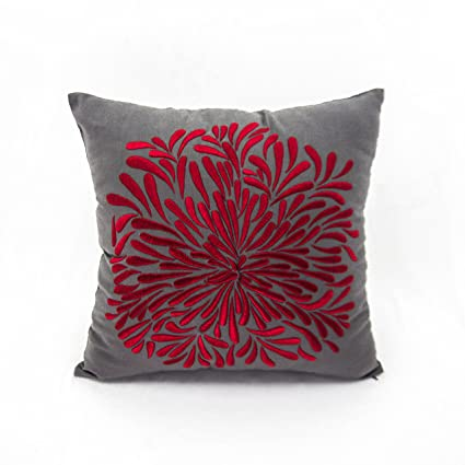 Amazon Embroidery Handmade Throw Pillow Cover Gray Coton Linen New Red Decorative Pillows For Couch