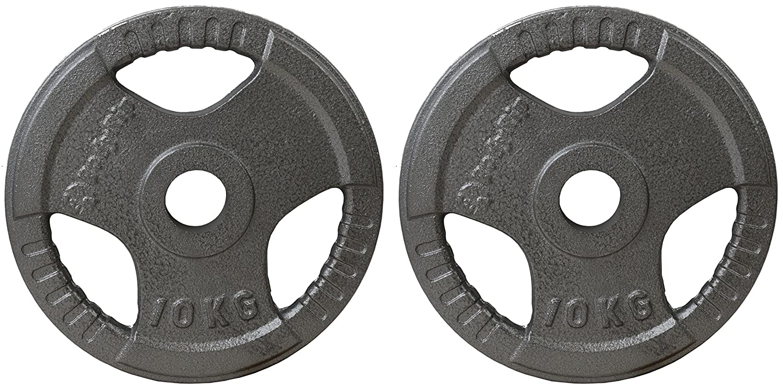 Metallic BodyRip Unisex Olympic 2 Inch Tri Grip Weight Plates 2 x 10KG