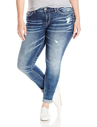 87554efd608 Amazon.com  Silver Jeans Co. Women s Plus Size Girlfriend Relaxed ...