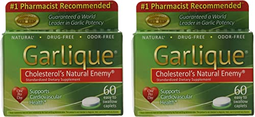 Garlique Dietary Supplement Caplets, 60-Count Packages Pack of 2