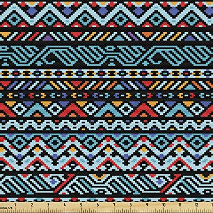 Amazon Com Lunarable Tribal Fabric By The Yard Colorful Geometric Mexican Pixel Art Pattern Indigenous Native Style Decorative Fabric For Upholstery And Home Accents 1 Yard Red Blue