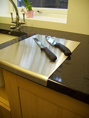 Stainless Steel Worktop Saver Chopping Board Round Edge (500mm Wide 500mm  Deep. (Includes