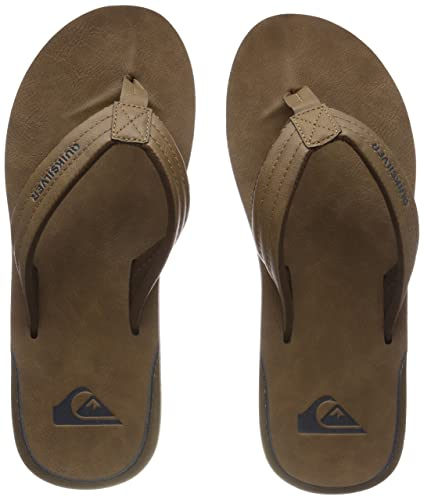 Mens Carver Nubuck Flip Flops, Brown, 8 UK Quiksilver