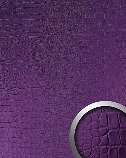 Panel decorativo autoadhesivo diseño piel de cocodrilo WallFace 16415 CROCO NOVA Con relieve color morado 2