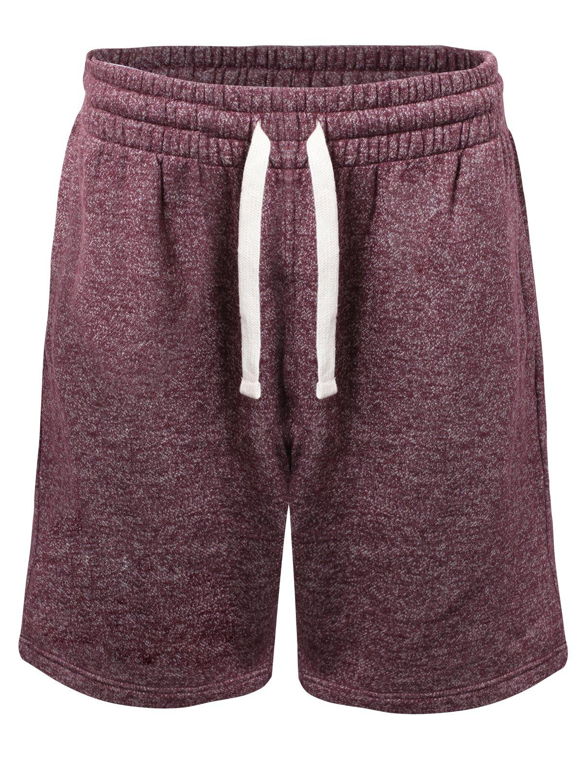 ProGo Men's Casual Basic Fleece Marled Shorts Pants with Elastic Waist (Burgundy, Large) by PROGO USA
