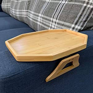 Bamboo Wood Sofa Arm Tray Table, Couch Drink Snack Remote Control Holder