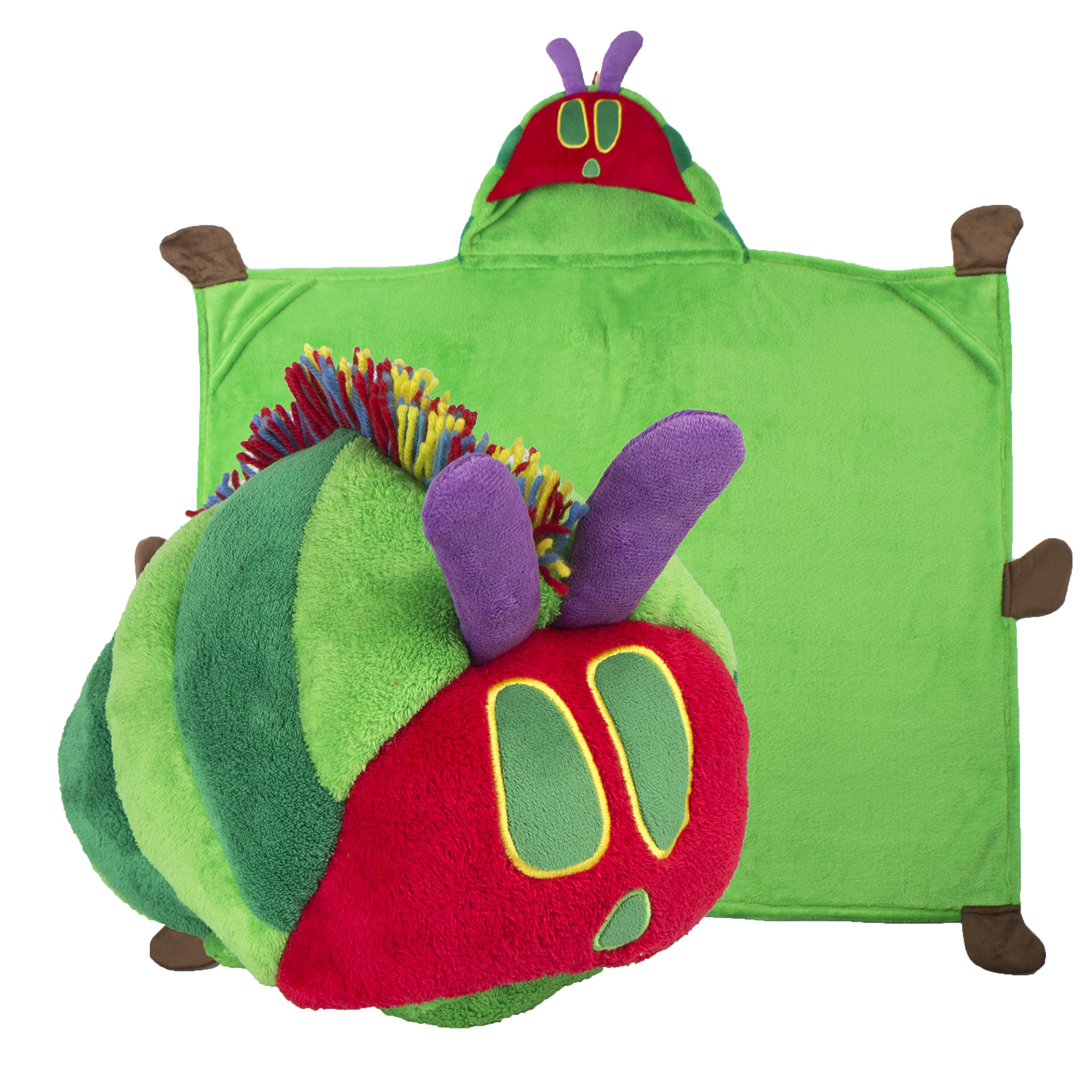 Comfy Critters Stuffed Animal Blanket - The World of Eric Carle, The Very Hungry Caterpillar - Kids Huggable Pillow and Blanket Perfect for Pretend Play, Travel, nap time. by Comfy Critters