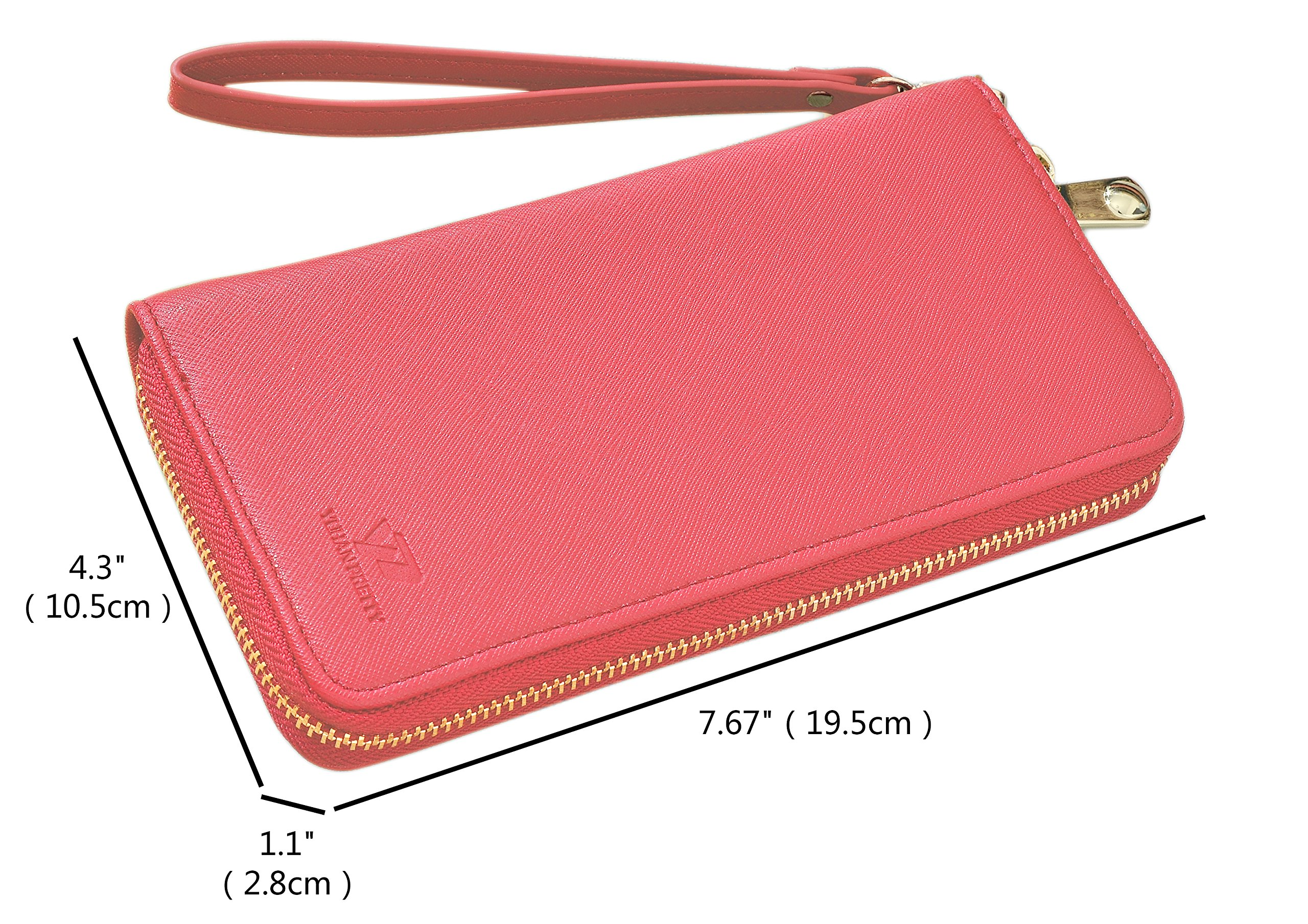 Womens Leather Wallet Clutch Long Zipper Wallets with Wrist Strap Card Holder (Red - New) by Yuhan Pretty (Image #5)