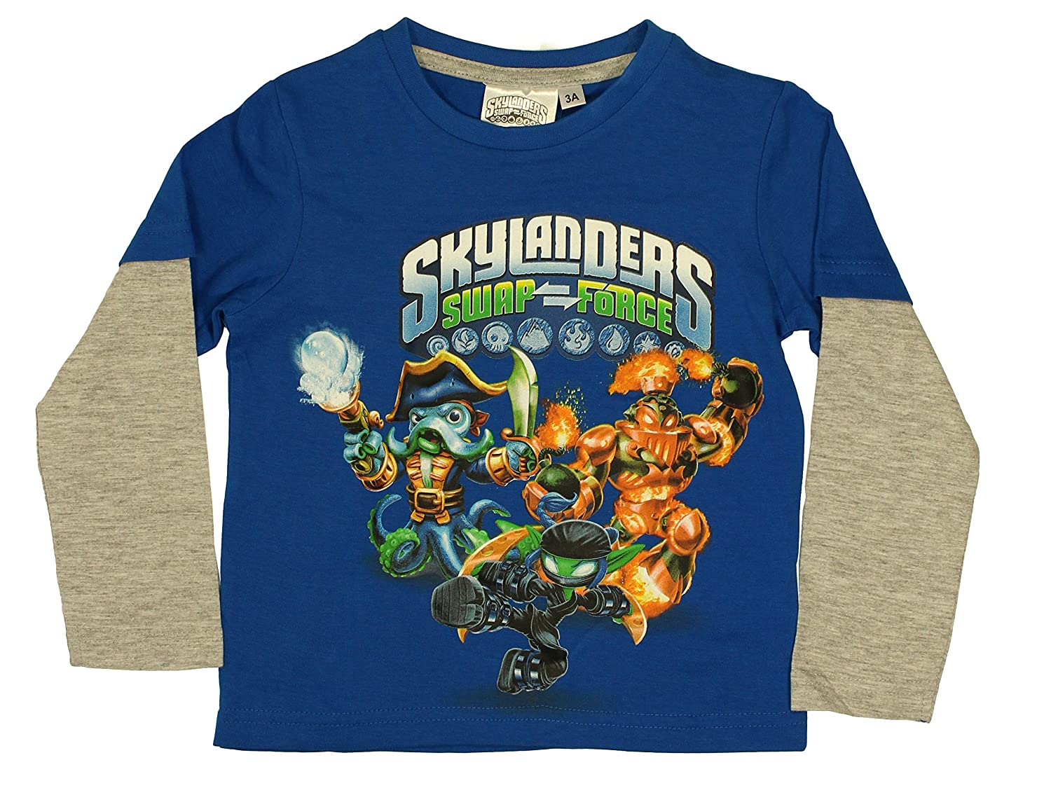 SKYLANDERS Official Boys T-Shirt Long Sleeve 3//8 Years