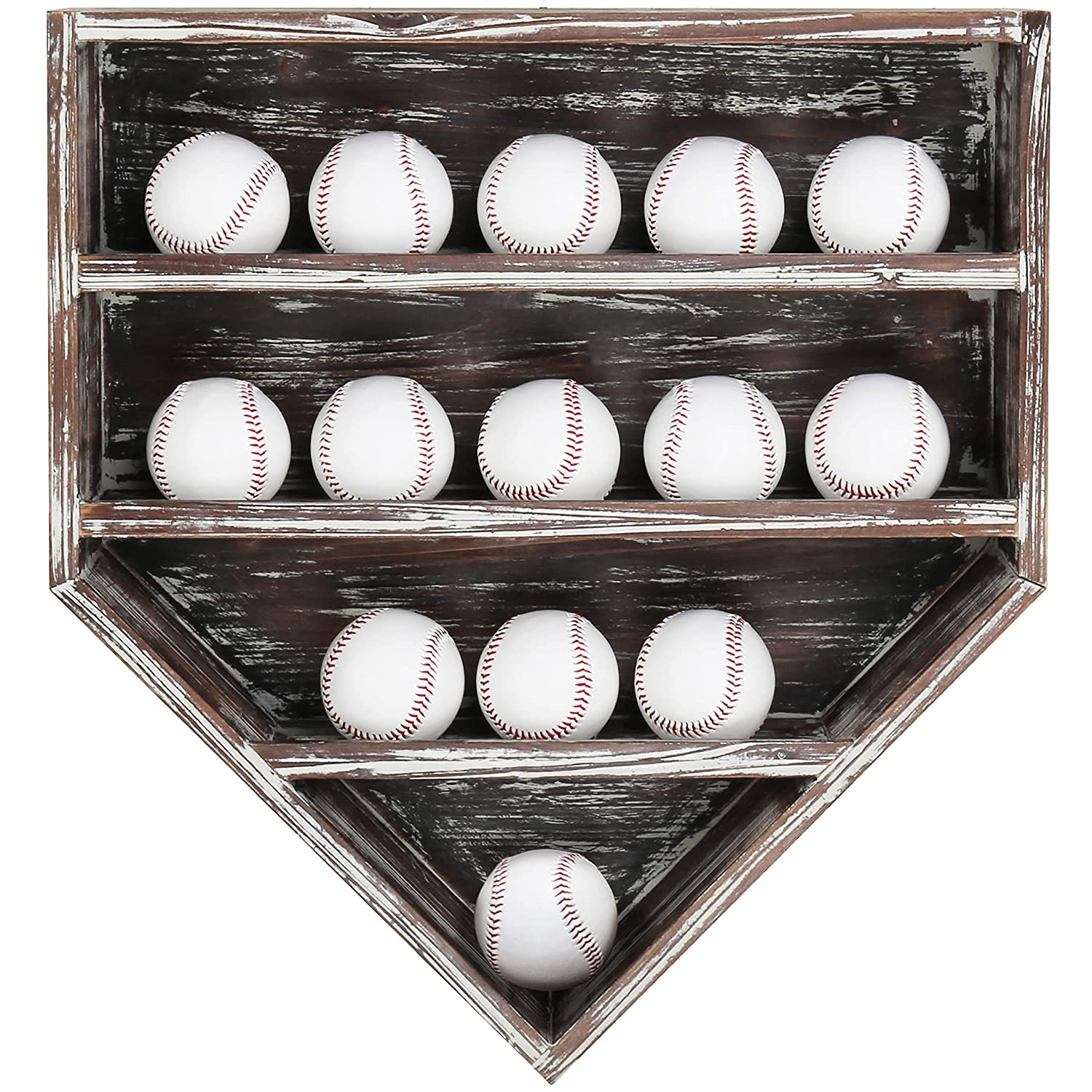 MyGift 14 Baseball Home Plate-Shaped Wall-Mounted Torched Wood Display Case