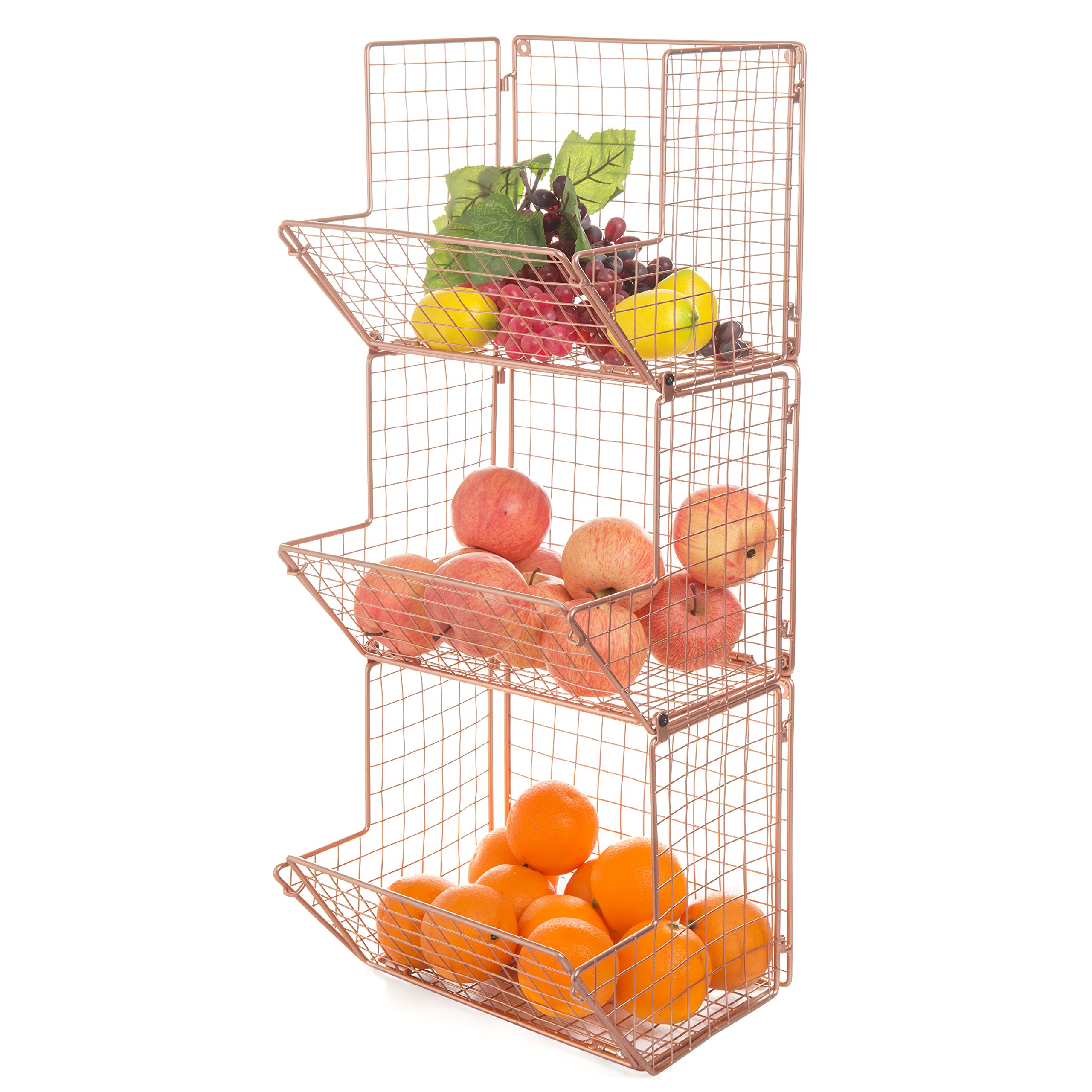 MyGift Wall-Mounted Copper-Tone Wire Metal 3-Tier Kitchen Fruit Produce Storage Bin