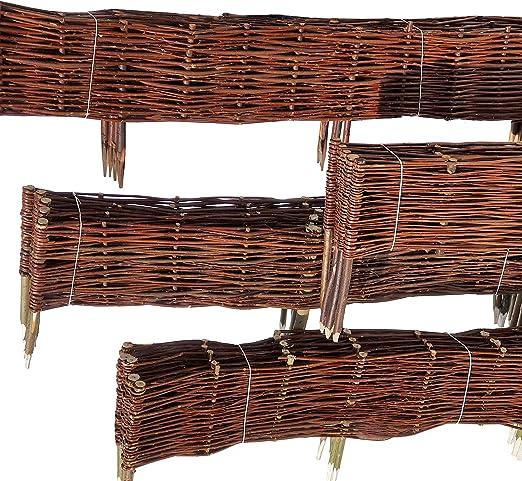 Vallado de mimbre para jardines con estacas para clavar en el suelo para delimitar jardines o prados: Amazon.es: Jardín